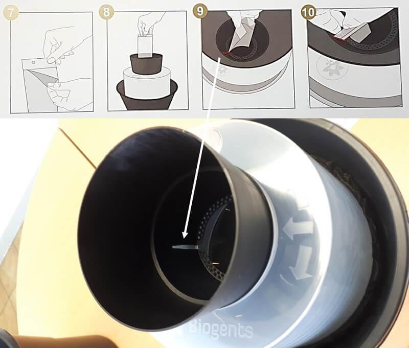 Positionnement plaque collante pour piege moustique anti larves biogents