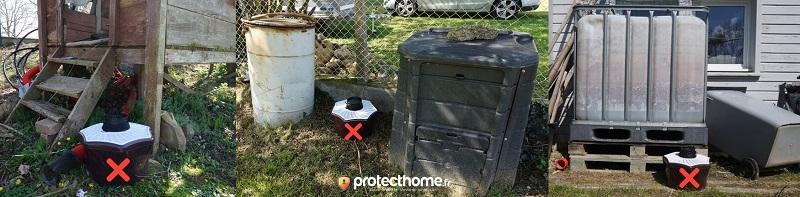 Positionnement piège à moustique BIOGENTS à ne pas faire